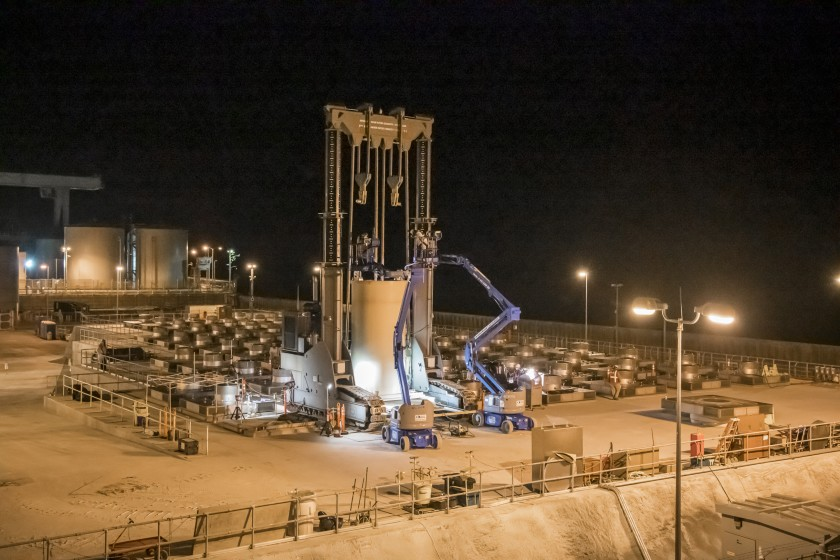 The last of 73 canisters of nuclear waste is lowered into its enclosure Friday at a dry storage facility at the San Onofre Nuclear Generating Station. (Southern California Edison via Los Angeles Times)