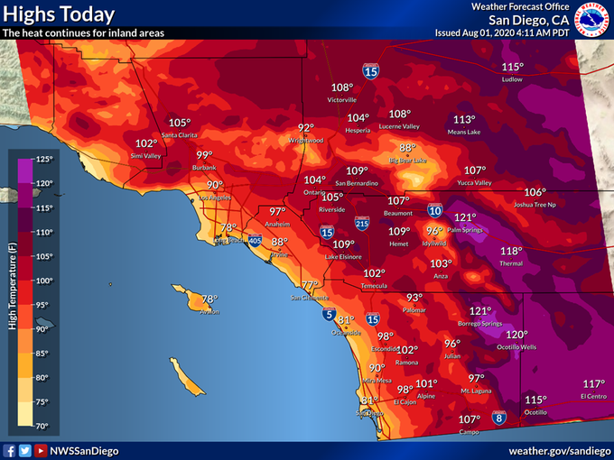 National Weather Service San Diego tweeted this heat map for Southern California on Aug. 1, 2020.