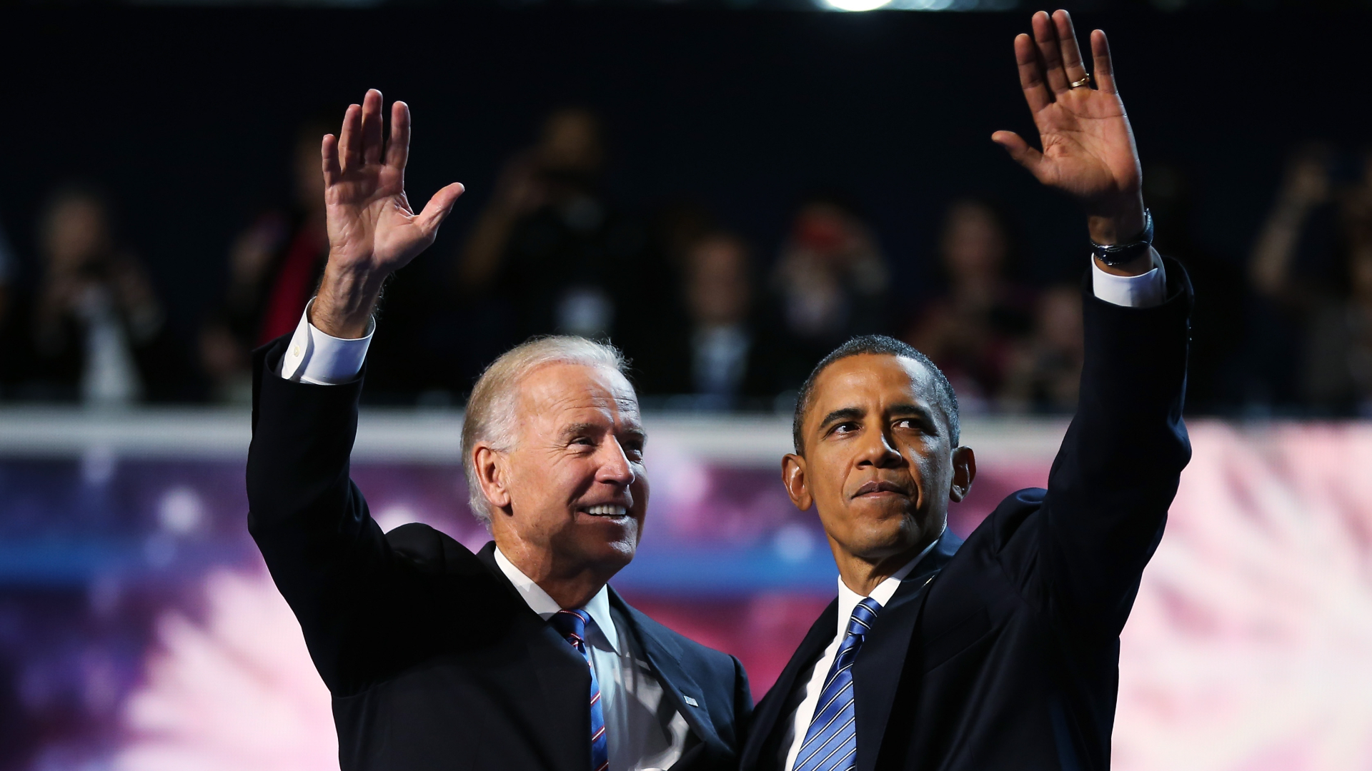 President Barack Obama, right, and Vice President Joe Biden wave after accepting the nomination during the final day of the Democratic National Convention on Sept. 6, 2012, in Charlotte, North Carolina. (Tom Pennington / Getty Images)