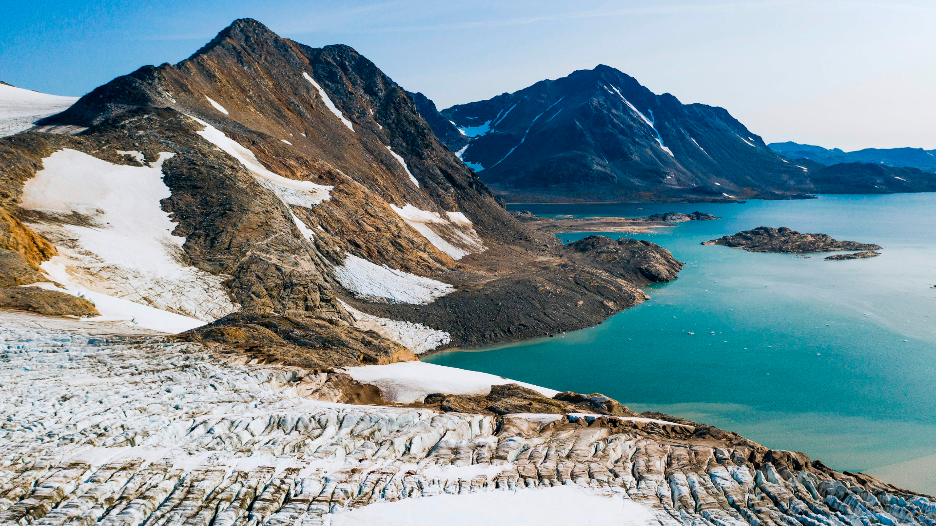 An aerial photo taken Aug. 17, 2019, shows a view of the Apusiajik glacier on the southeastern shore of Greenland. (Jonathan Nackstrand / AFP / Getty Images)