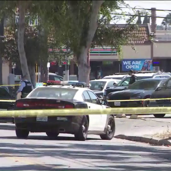 Police respond to a shooting in Hollywood where an officer was shot on Aug. 5, 2020. (KTLA)