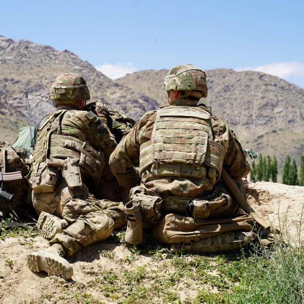 In this photo taken on June 6, 2019, US soldiers look out over hillsides in Afghanistan. (THOMAS WATKINS/AFP/Getty Images via CNN Wire)