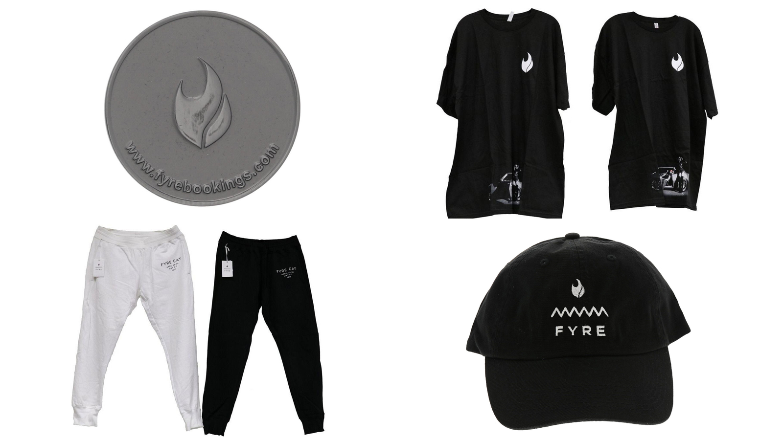 Fyre-branded tokens, shirts, sweatpants and hats are for sale in the online auction. (Gaston & Sheehan via CNN)