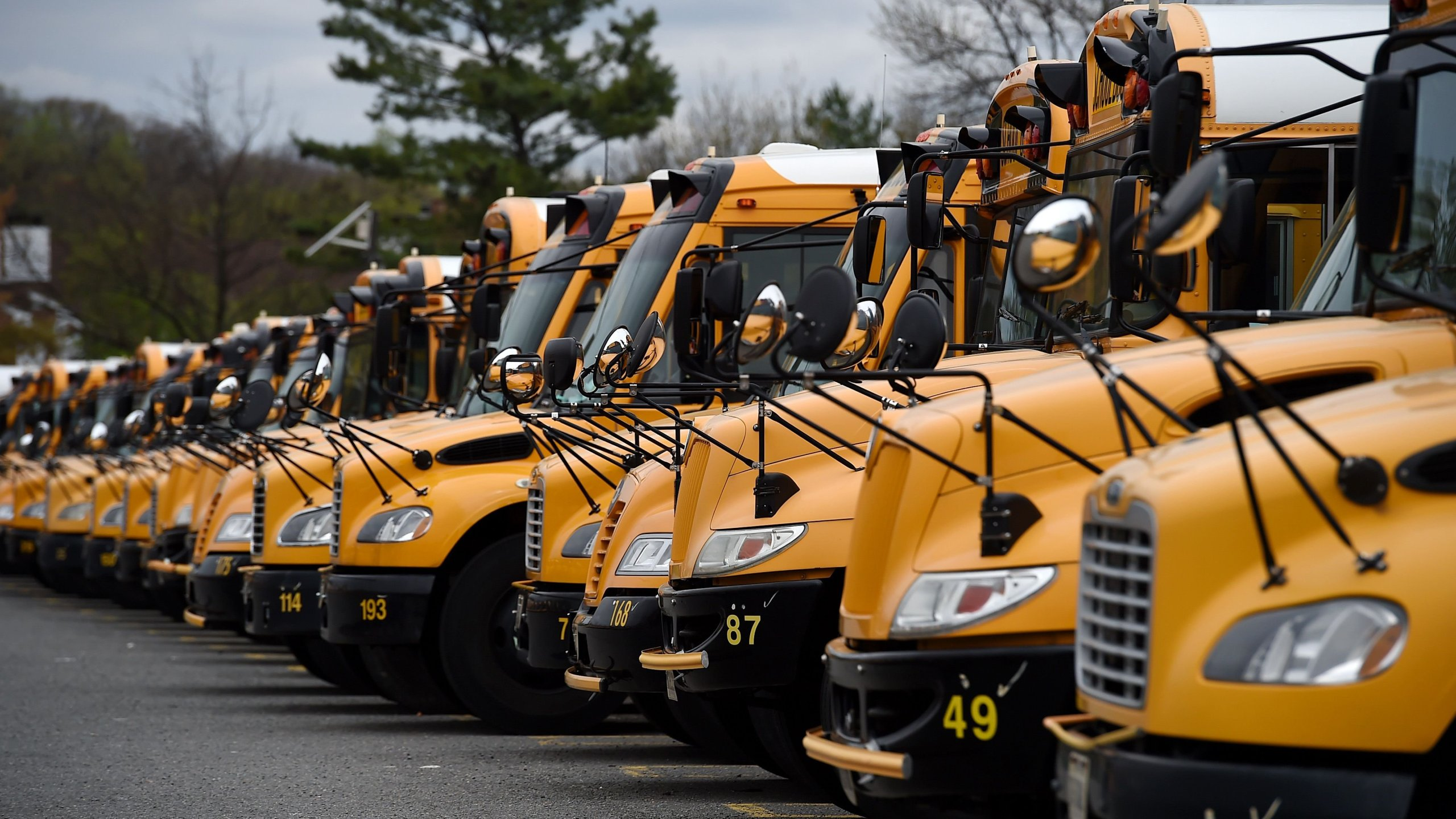 About 100 school buses are parked at the Arlington County Bus Depot, in response to the novel coronavirus, COVID-19 outbreak on March 31, 2020 in Arlington, Virginia. (Olivier Douliery/AFP via Getty Images)