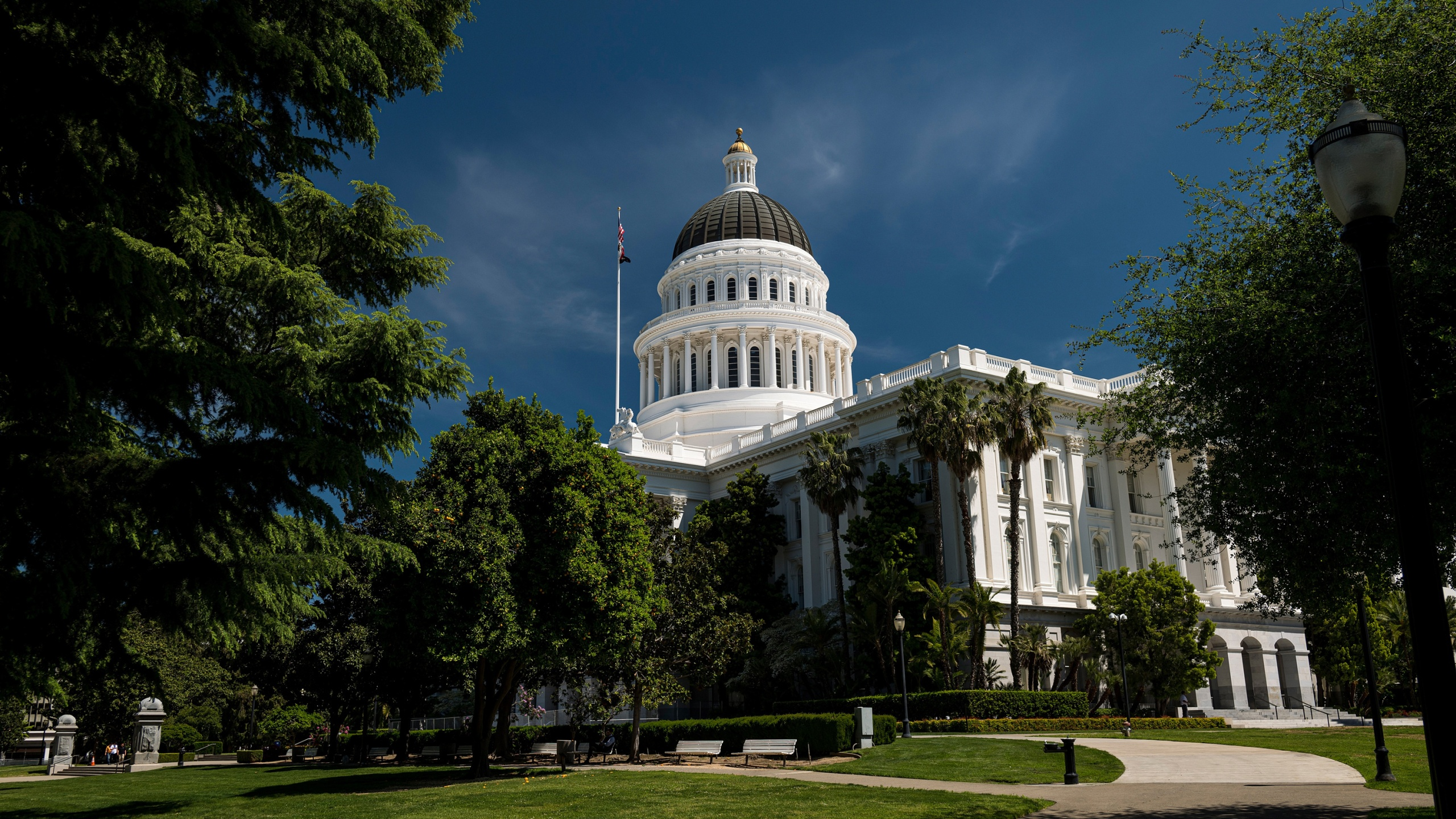 The California State Capital building stands in Sacramento, California on Tuesday, April 14, 2020. (David Paul Morris/Bloomberg via Getty Images)