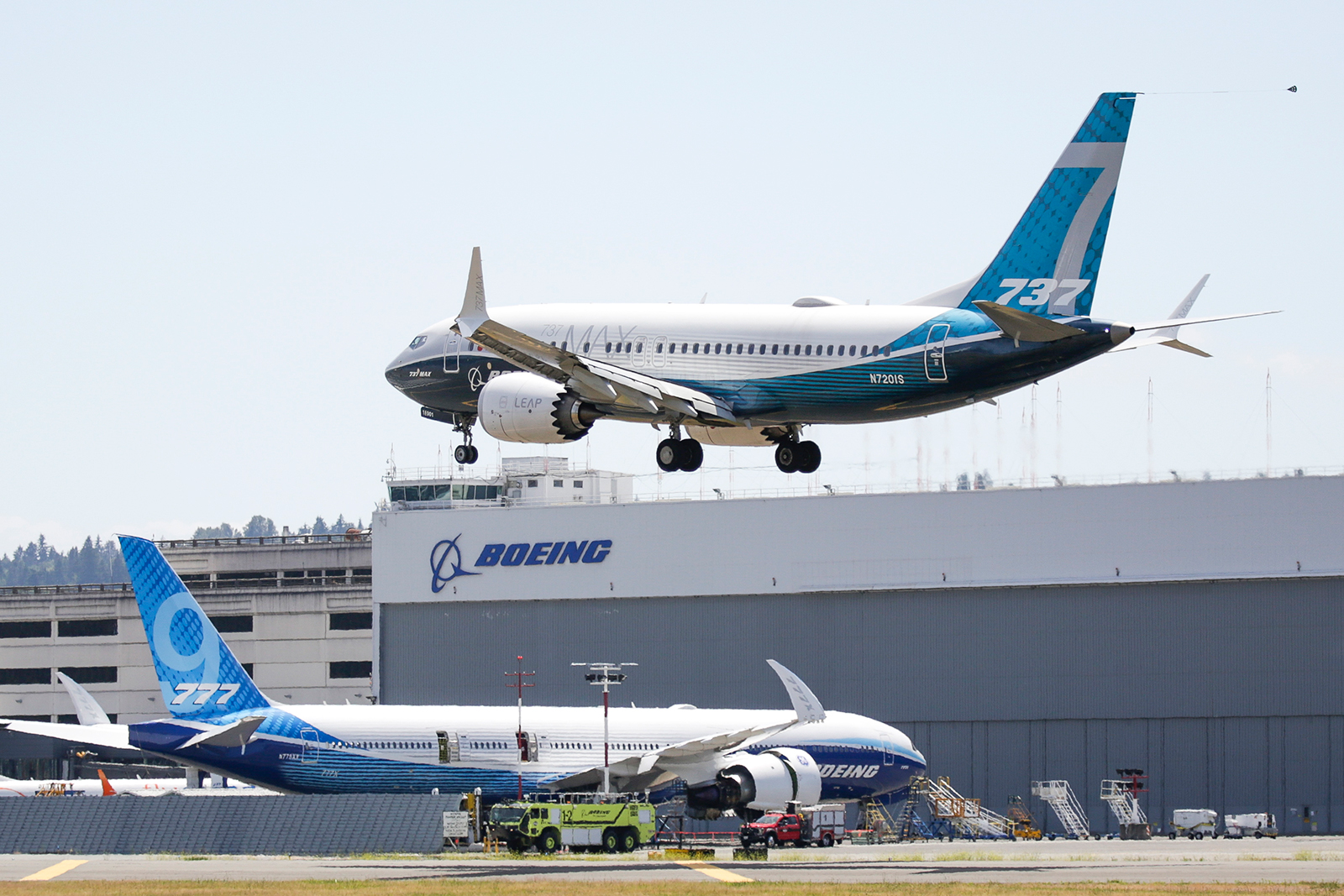 A Boeing 737 MAX jet lands following Federal Aviation Administration test flight at Boeing Field in Seattle, Washington on June 29, 2020. (Jason Redmond/AFP/Getty Images via CNN Wire)
