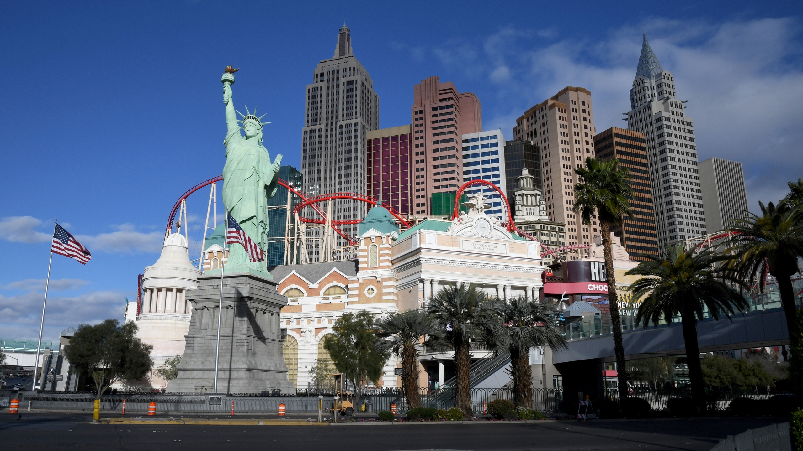 An exterior view shows the New York-New York Hotel & Casino after the Las Vegas Strip resort was closed as the coronavirus continues to spread across the United States on March 17, 2020 in Las Vegas, Nevada. (Ethan Miller/Getty Images)