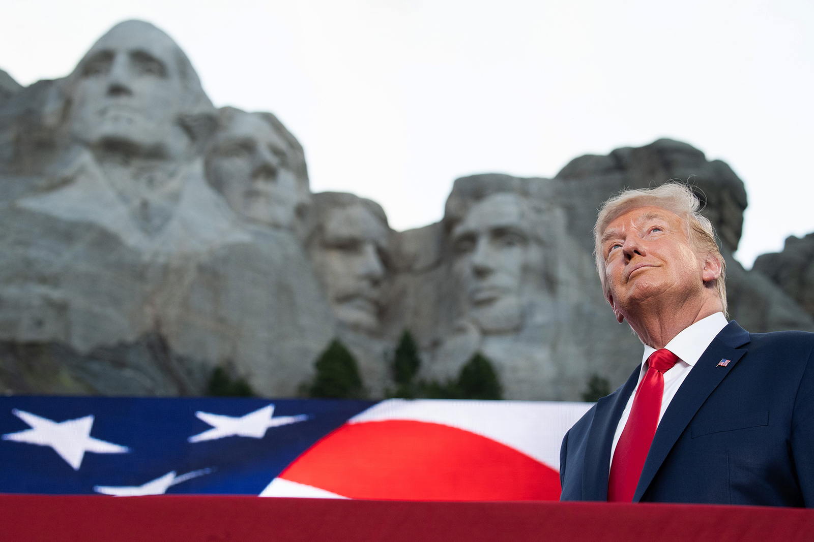 Donald Trump arrives for the Independence Day events at Mount Rushmore National Memorial in Keystone, South Dakota, July 3, 2020. (SAUL LOEB/AFP via Getty Images)
