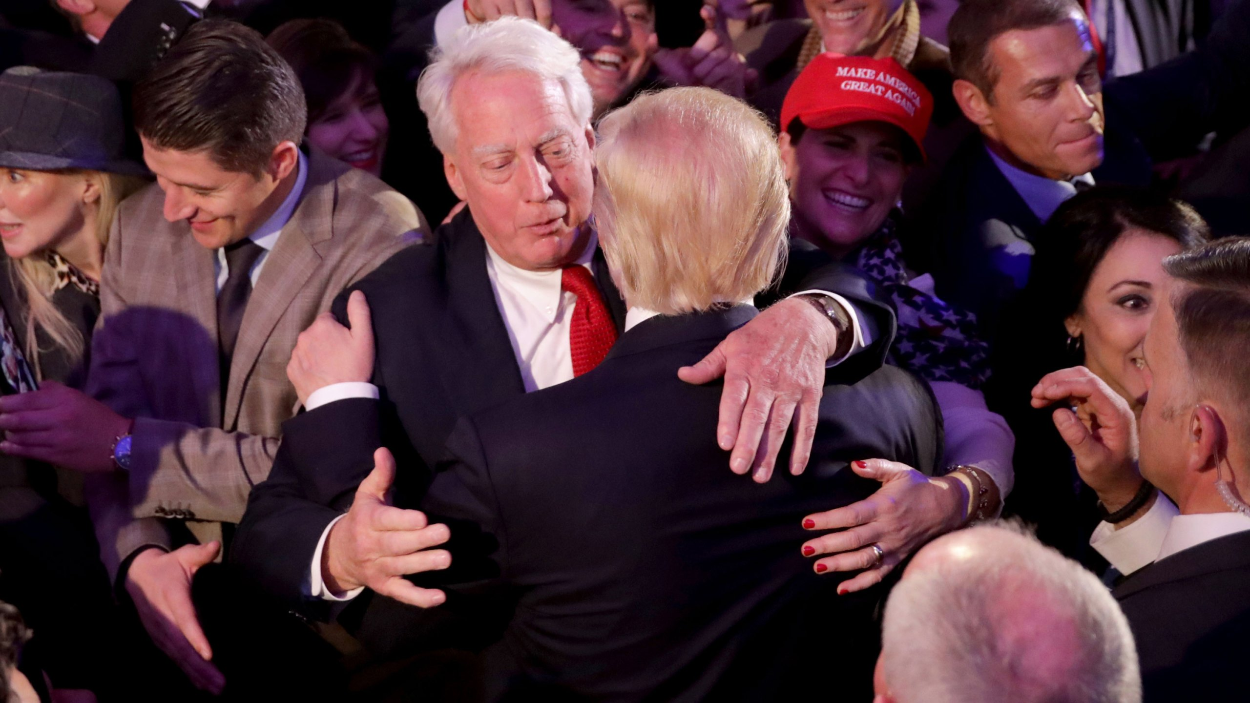 Republican president-elect Donald Trump hugs his brother Robert Trump after delivering his acceptance speech at the New York Hilton Midtown in the early morning hours of November 9, 2016 in New York City. (Chip Somodevilla/Getty Images)