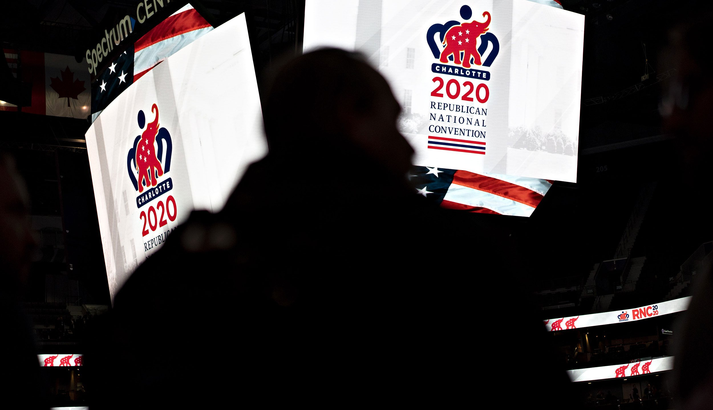 2020 Republican National Convention signage is displayed inside the Spectrum Center during a media walk-through in Charlotte, North Carolina, U.S. on Nov. 12, 2019.(Andrew Harrer/Bloomberg via Getty Images)