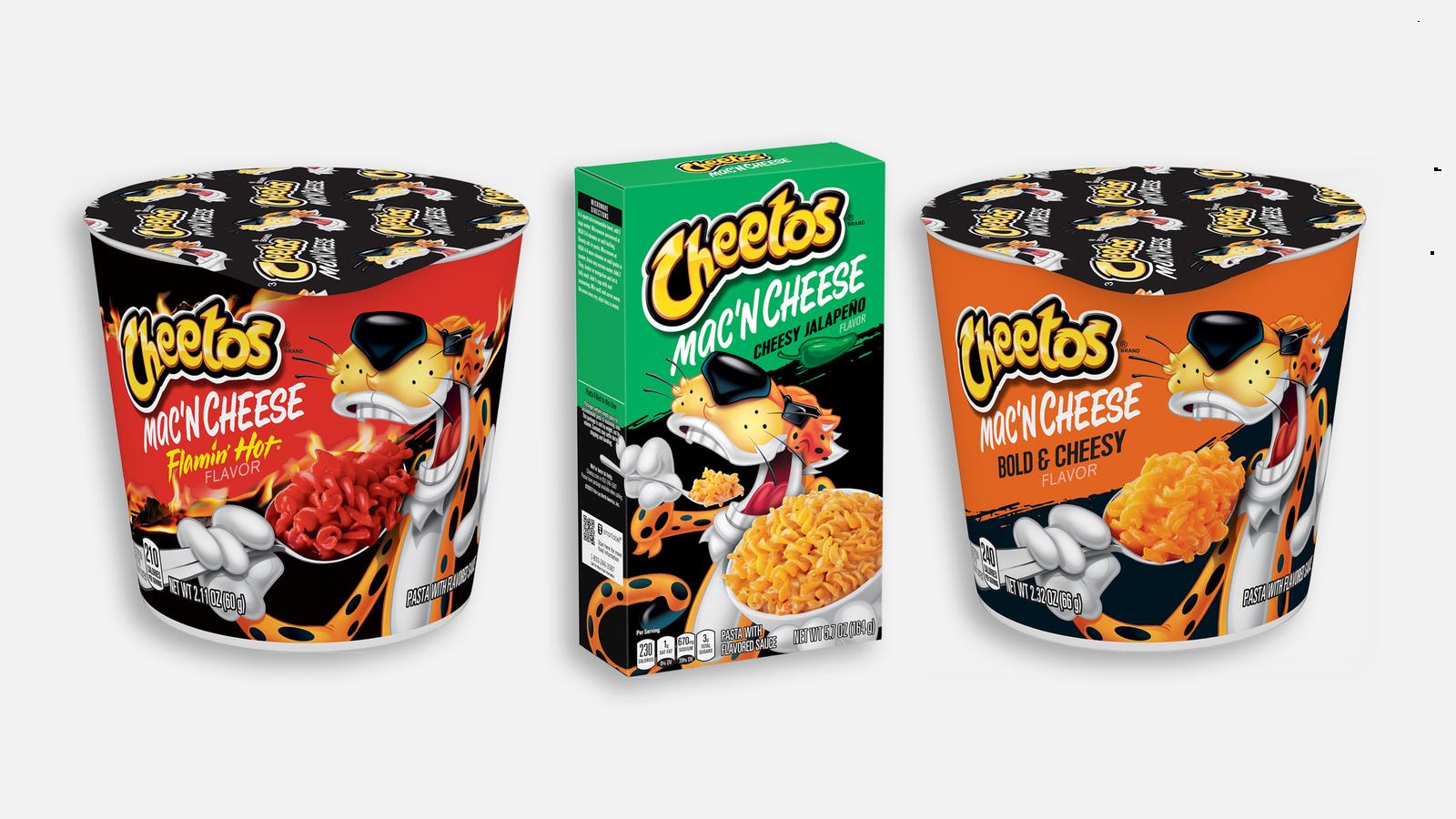 Cheetos Mac 'n' Cheese comes in three flavors — Bold & Cheesy, Flamin' Hot and Cheesy Jalapeño. (Frito-Lay/Quaker Foods)