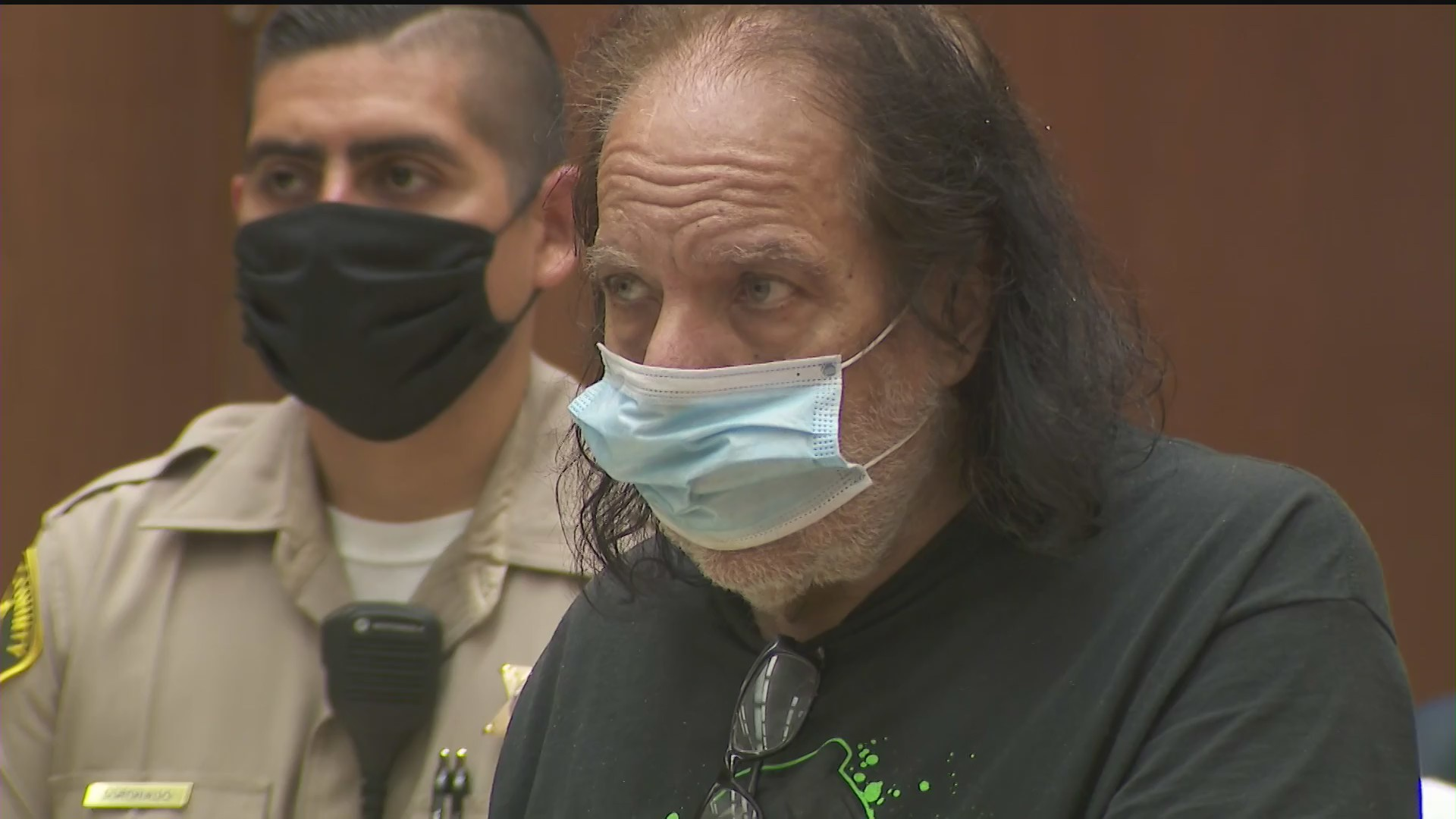 Ron Jeremy is seen at a court appearance in Los Angeles on June 23, 2020. (KTLA)