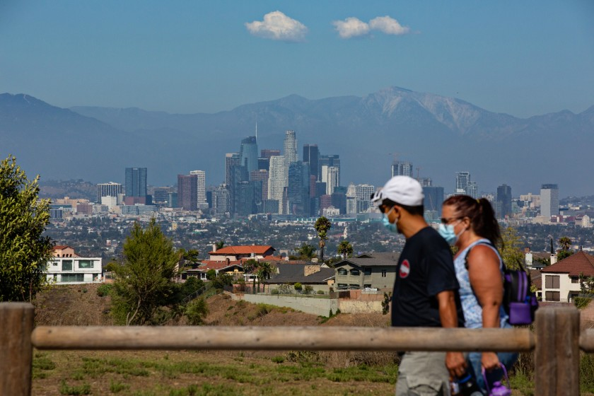 People enjoy a hike at the Kenneth Hahn State Recreation Area in Los Angeles on Aug. 8. (Jason Armond/Los Angeles Times)
