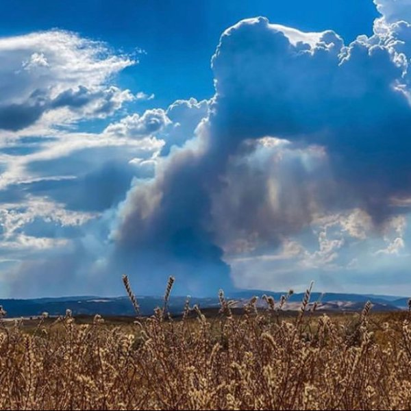 The L.A. County Fire Department tweeted this image on Aug. 16, 2020 of smoke rising from the Lake Fire in northwest L.A. County.