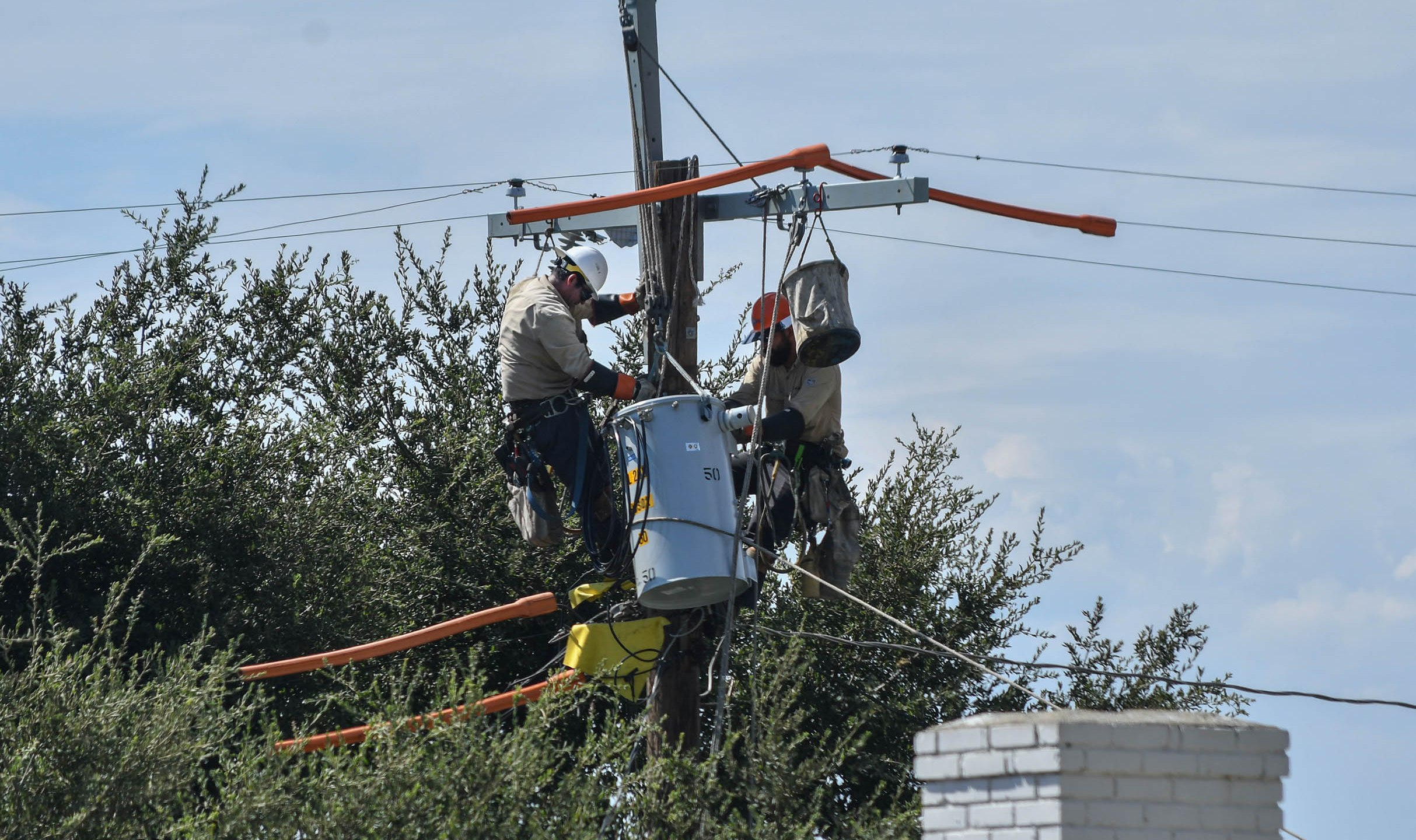 The L.A. Department of Water and Power tweeted this image of crews working on a power line on Aug. 16, 2020.