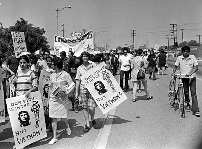 Chicano Moratorium Committee antiwar demonstrators in East Los Angeles on Aug. 29, 1970. (Los Angeles Times)