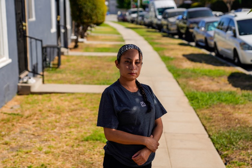 Lizzet Aguilar said that after she participated in a strike in June 2020 at a McDonald's location in Boyle Heights over unsafe working conditions, a supervisor retaliated against her by making her job more onerous.(Kent Nishimura / Los Angeles Times)