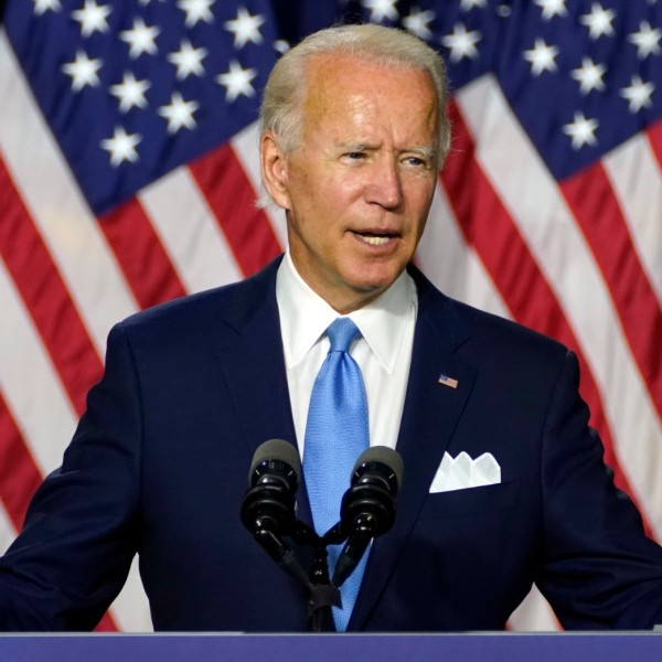 Democratic presidential candidate former Vice President Joe Biden speaks during a campaign event with his running mate Sen. Kamala Harris, D-Calif., at Alexis Dupont High School in Wilmington, Del., Wednesday, Aug. 12, 2020. (AP Photo/Carolyn Kaster)