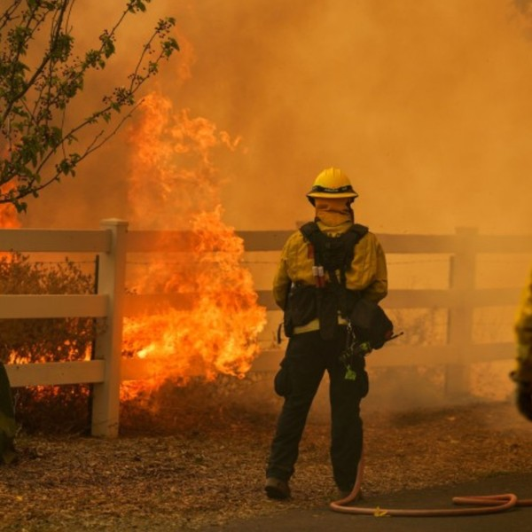 Firefighters battle flames along Lyon Road in Vacaville on Wednesday.(Kent Nishimura / Los Angeles Times)