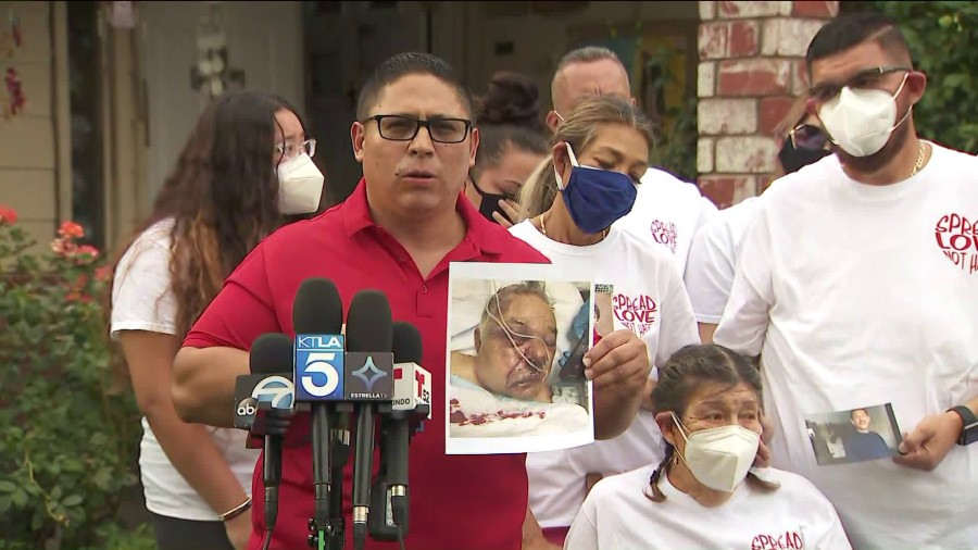 Family members gathered at a news conference hours to call for justice after the death of Roberto Flores Lopez on Aug. 19, 2020. (KTLA)