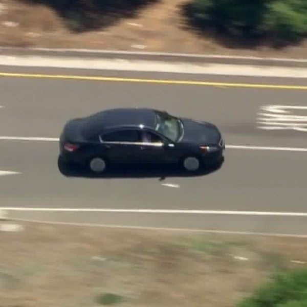 Authorities pursued a car in southeast L.A. County on Aug. 7, 2020. (KTLA)