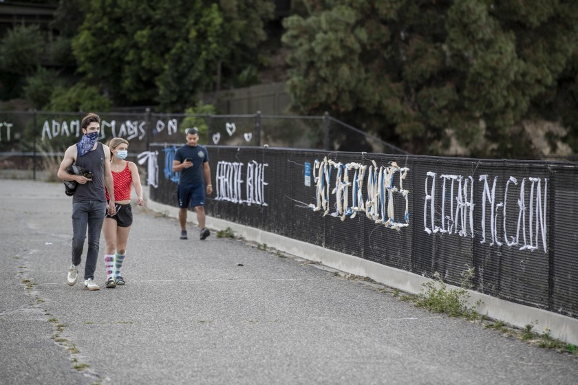 "The ""Say Their Names: Silver Lake Memorial,"" which forces passersby to address the issue of police brutality, is seen in this undated photo. (Robert Gauthier/Los Angeles Times)"