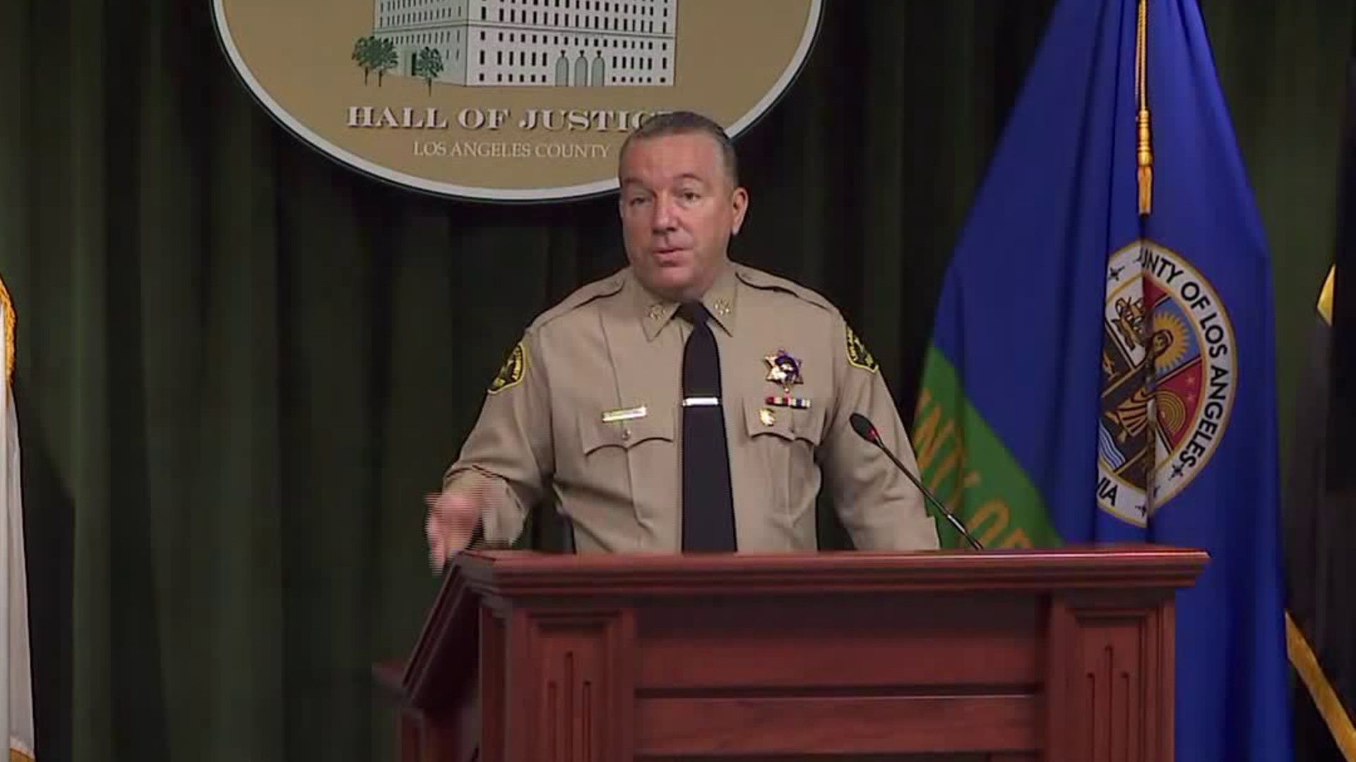 L.A. County Sheriff Alex Villanueva speaks at a news conference on Aug. 12, 2020. (KTLA)