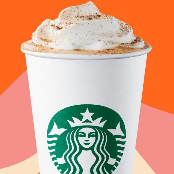 A Pumpkin Spice Latte is seen in a Starbucks promotional photo.