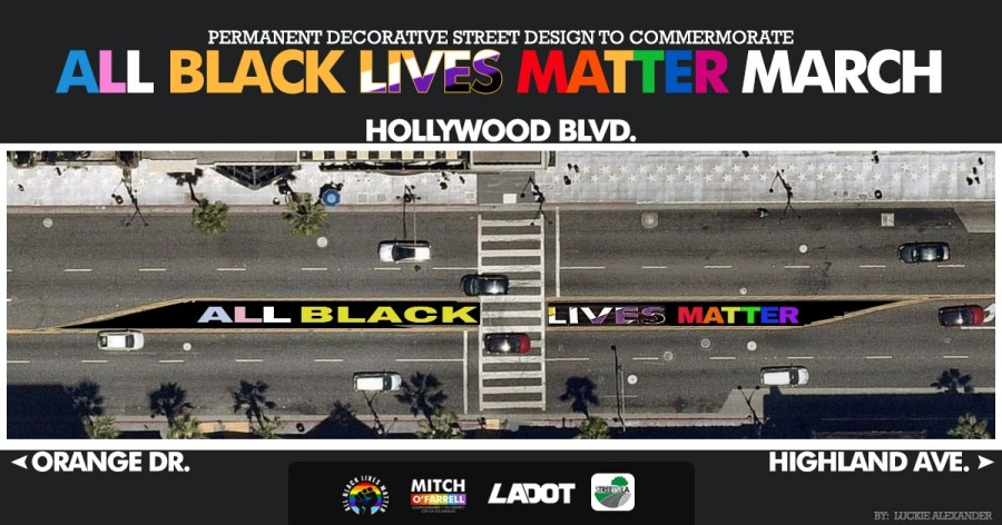 "A mock-up of the ""All Black Lives Matter March"" installation is seen in an image released by the L.A. Department of Public Works on Aug. 21, 2020."