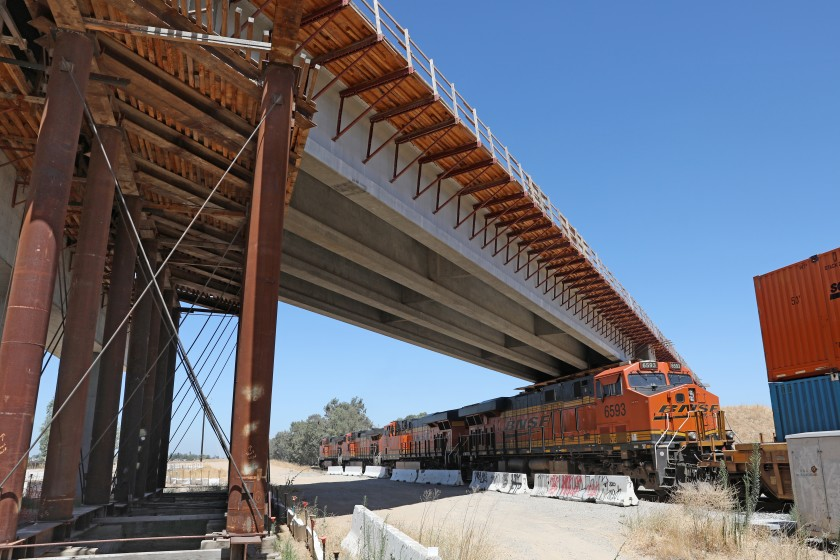 A bridge in Madera County crucial to the bullet train project, shown in summer 2020, had a serious problem with corroded tension strands that broke in December 2019. (Gary Coronado / Los Angeles Times)