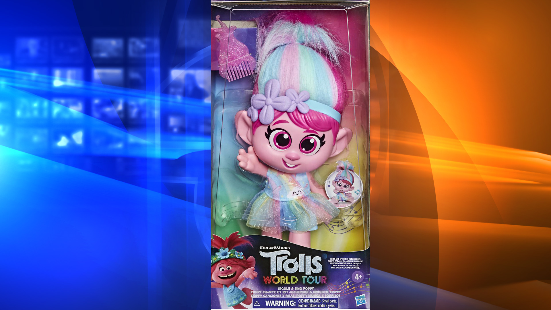 "Hasbro is removing the ""Trolls World Tour Giggle and Sing Poppy"" doll from stores amid complaints that the button under her skirt is inappropriately placed. (Walmart)"