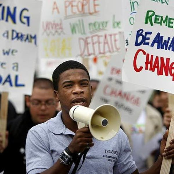 In 2010, UC Irvine students and faculty rallied to celebrate the life and legacy of the Rev. Martin Luther King Jr. (Mark Boster / Los Angeles Times)