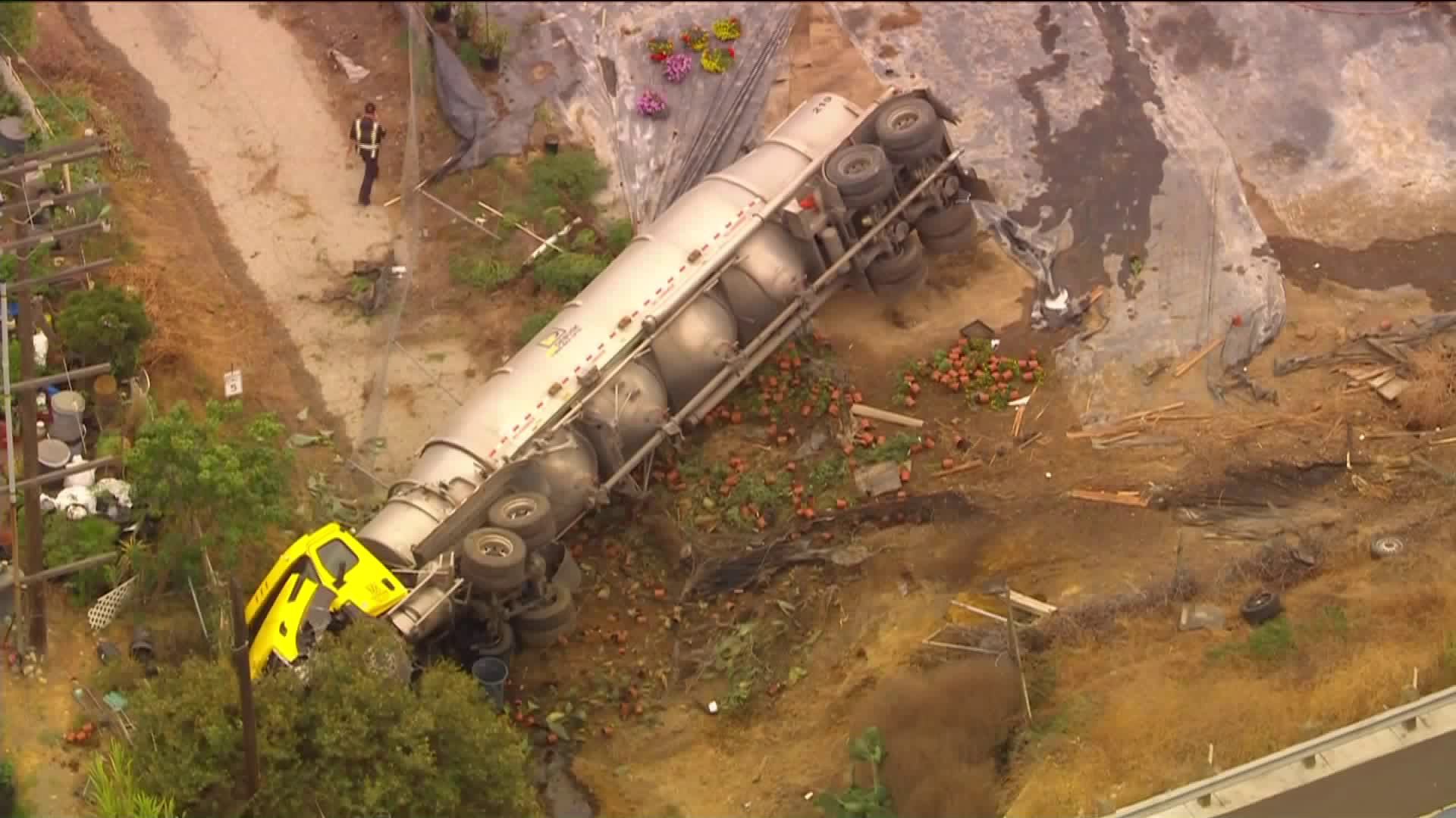 A semi truck rolled over off a freeway in Harbor on Sept. 10, 2020. (KTLA)
