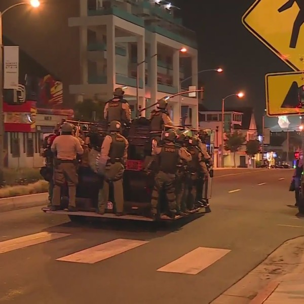 Deputies respond to a protest in West Hollywood on Sept. 25, 2020. (RMG News)