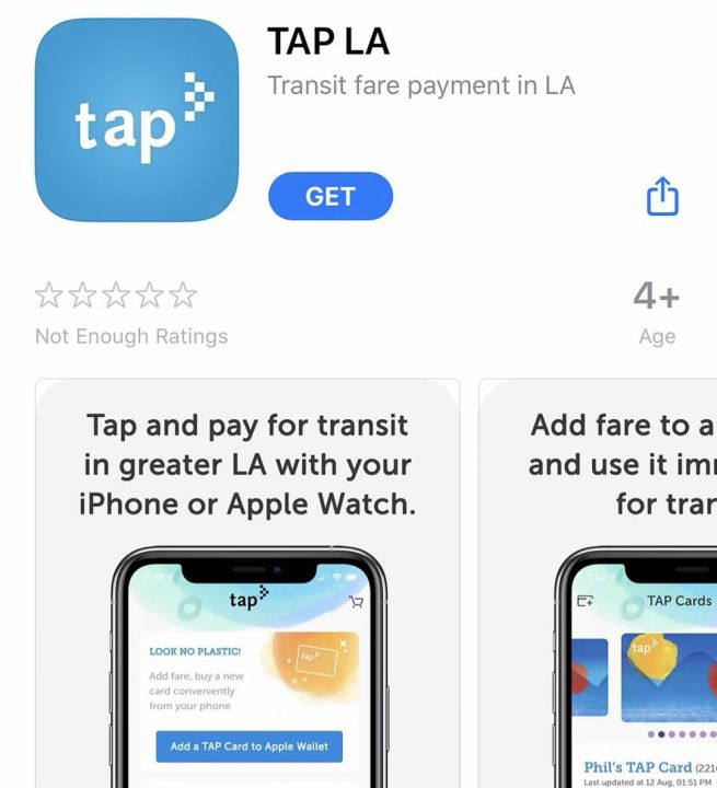 The new mobile TAP app is seen in the app store.