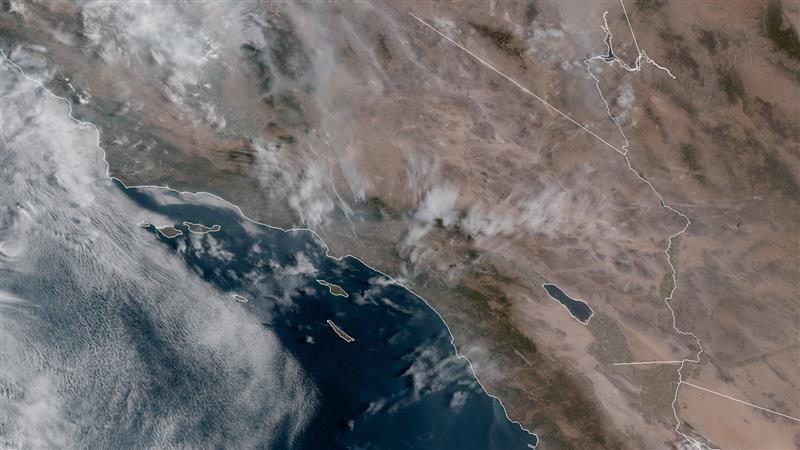 A satellite images shows wildfire smoke over Southern California. (GOES-17/NOAA)