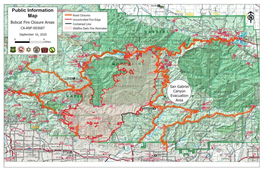 A fire information map posted by the U.S. Forest Service is seen on Sept. 16, 2020.