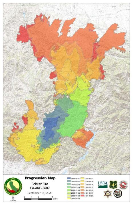 The daily progression of the Bobcat Fire is seen in a map released Sept. 22, 2020, by the U.S. Forest Service.