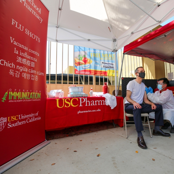 Los Angeles Mayor Eric Garcetti received a flu shot on Sept. 22, 2020, in Boyle Heights. (City of Los Angeles)