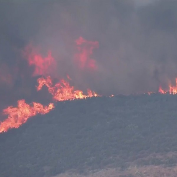 The Martindale Fire burns in the Angeles National Forest, north of Santa Clarita, on Sept. 28, 2020. (KTLA)