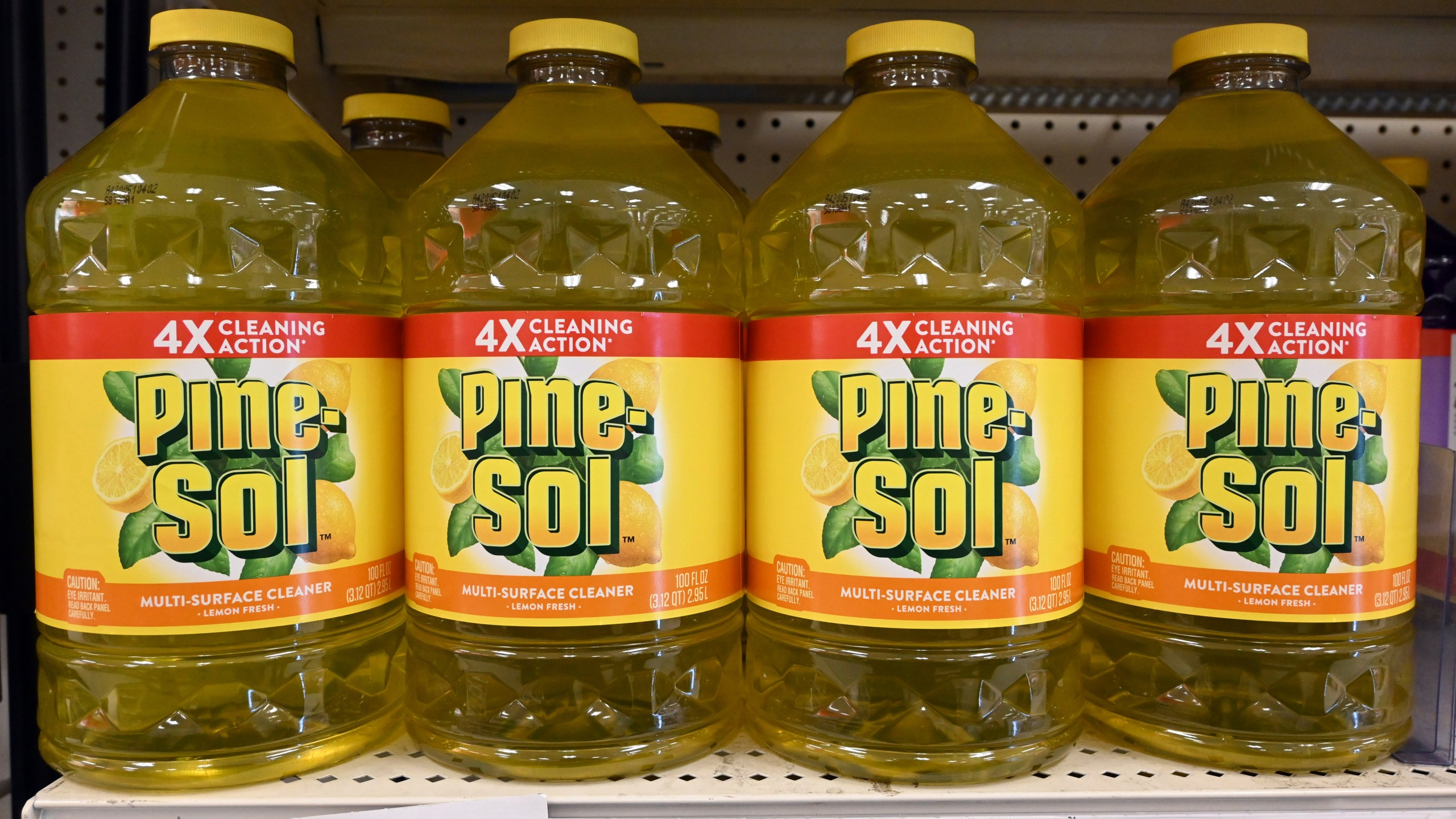 Pine Sol multi-surface lemon fresh cleaner seen on a shelf at a Target store in Los Angeles on March 23, 2020. (Kirby Lee via AP)