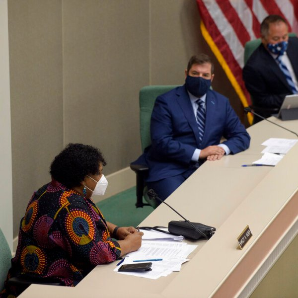 California Assembly member Shirley Weber, D-San Diego, left, speaks during an Assembly Budget Subcommittee hearing on Budget Process, Oversight and Program Evaluation at the Capitol in Sacramento, Calif., Tuesday, Aug. 25, 2020. (AP Photo/Randall Benton)