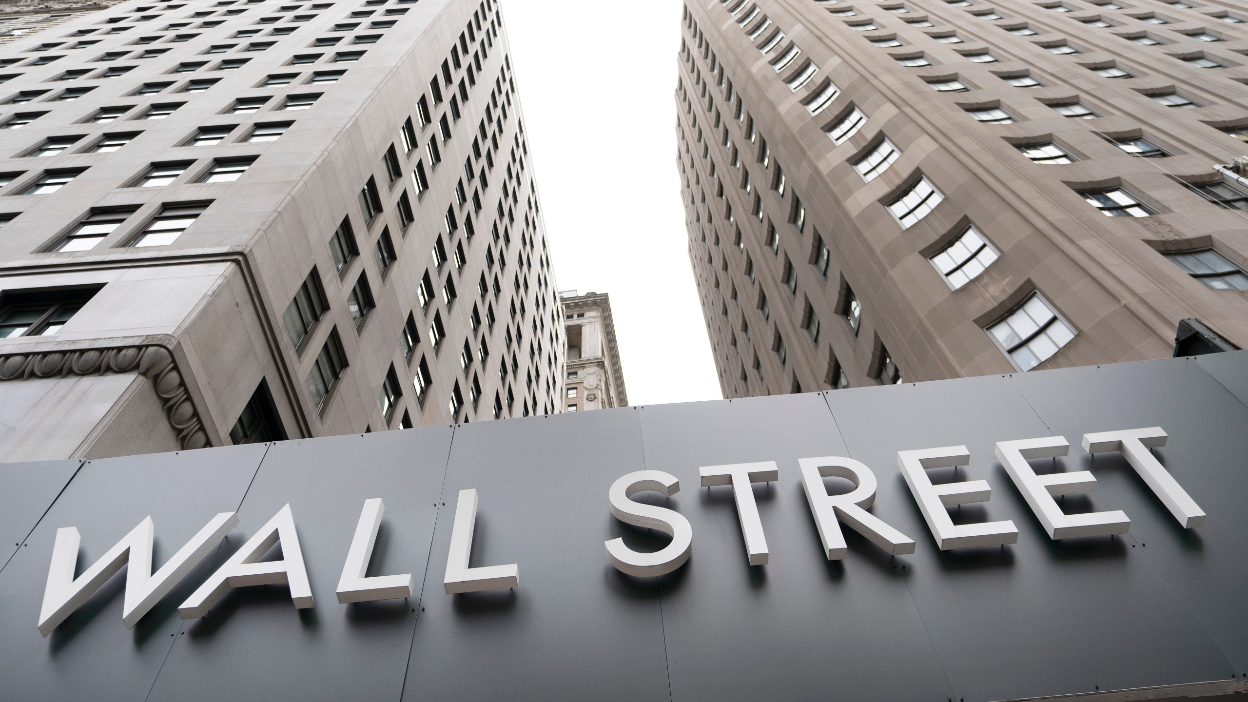 Buildings line Wall Street on Aug. 31, 2020 in New York. (Mark Lennihan/Associated Press)