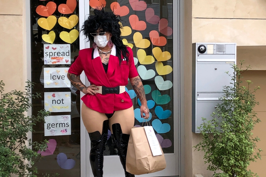 This Aug. 28, 2020 photo shows Kochina Rude delivering food for customers in San Francisco. (AP Photo/Haven Daley)