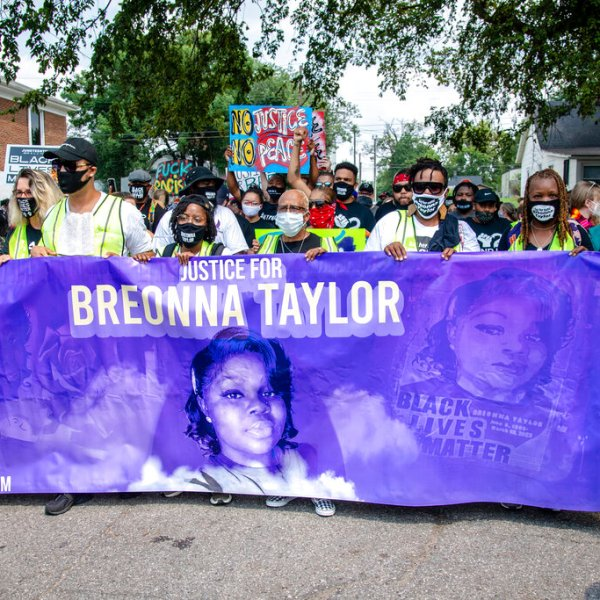 Protesters participate in the Good Trouble Tuesday march for Breonna Taylor, on Tuesday, Aug. 25, 2020, in Louisville, Ky. (Amy Harris/Invision/AP File)