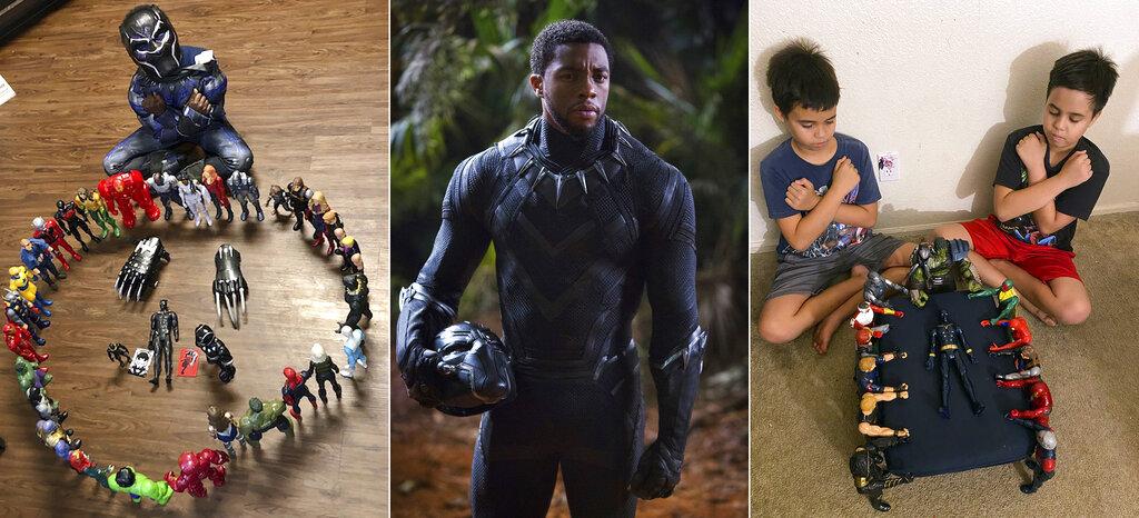 "This combination photo shows, from left, Gavyn Batiste, 7, dressed as Black Panther and surrounded by action figures in Lafayette, La. on Aug. 31, 2020, actor Chadwick Boseman in character as T'Challa in ""Black Panther"" and 10-year old twins Lenny, left, and Bobby Homes paying tribute to Boseman at their home in in Mesa, Ariz. on Aug. 31, 2020. (Takiyah Dupas, Marvel Studios, Annalie Homes via AP)"