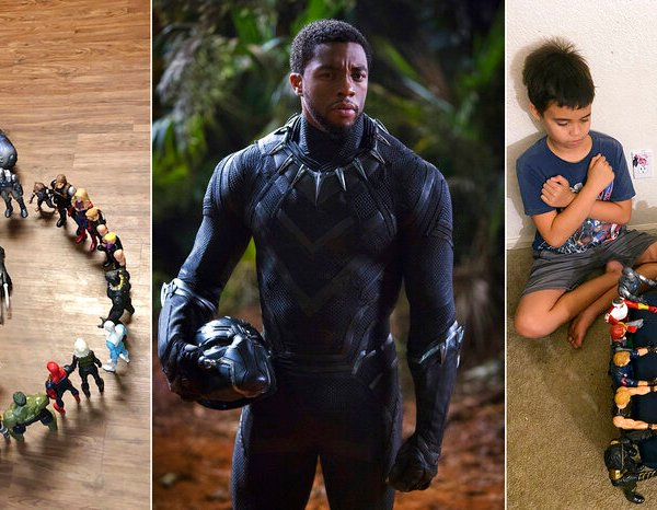 """This combination photo shows, from left, Gavyn Batiste, 7, dressed as Black Panther and surrounded by action figures in Lafayette, La. on Aug. 31, 2020, actor Chadwick Boseman in character as T'Challa in """"Black Panther"""" and 10-year old twins Lenny, left, and Bobby Homes paying tribute to Boseman at their home in in Mesa, Ariz. on Aug. 31, 2020. (Takiyah Dupas, Marvel Studios, Annalie Homes via AP)"""