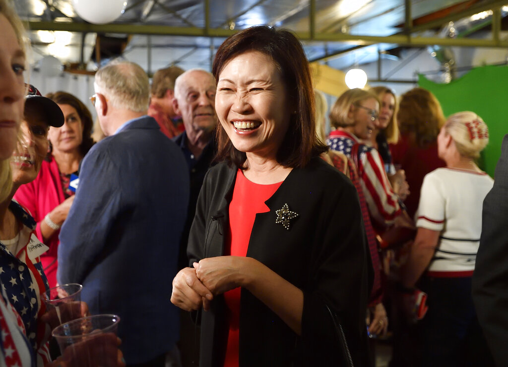 In this Tuesday, June 5, 2018, file photo Orange County Supervisor Michelle Steel smiles as she visits Rep. Dana Rohrabacher's election night party in Costa Mesa, Calif. Republican Steel, who heads the Orange County Board of Supervisors, has seized on the fight over affirmative action and the new labor law known as AB5 in her bid to oust first-term Democratic Rep. Harley Rouda. (Jeff Gritchen/The Orange County Register via AP, File)