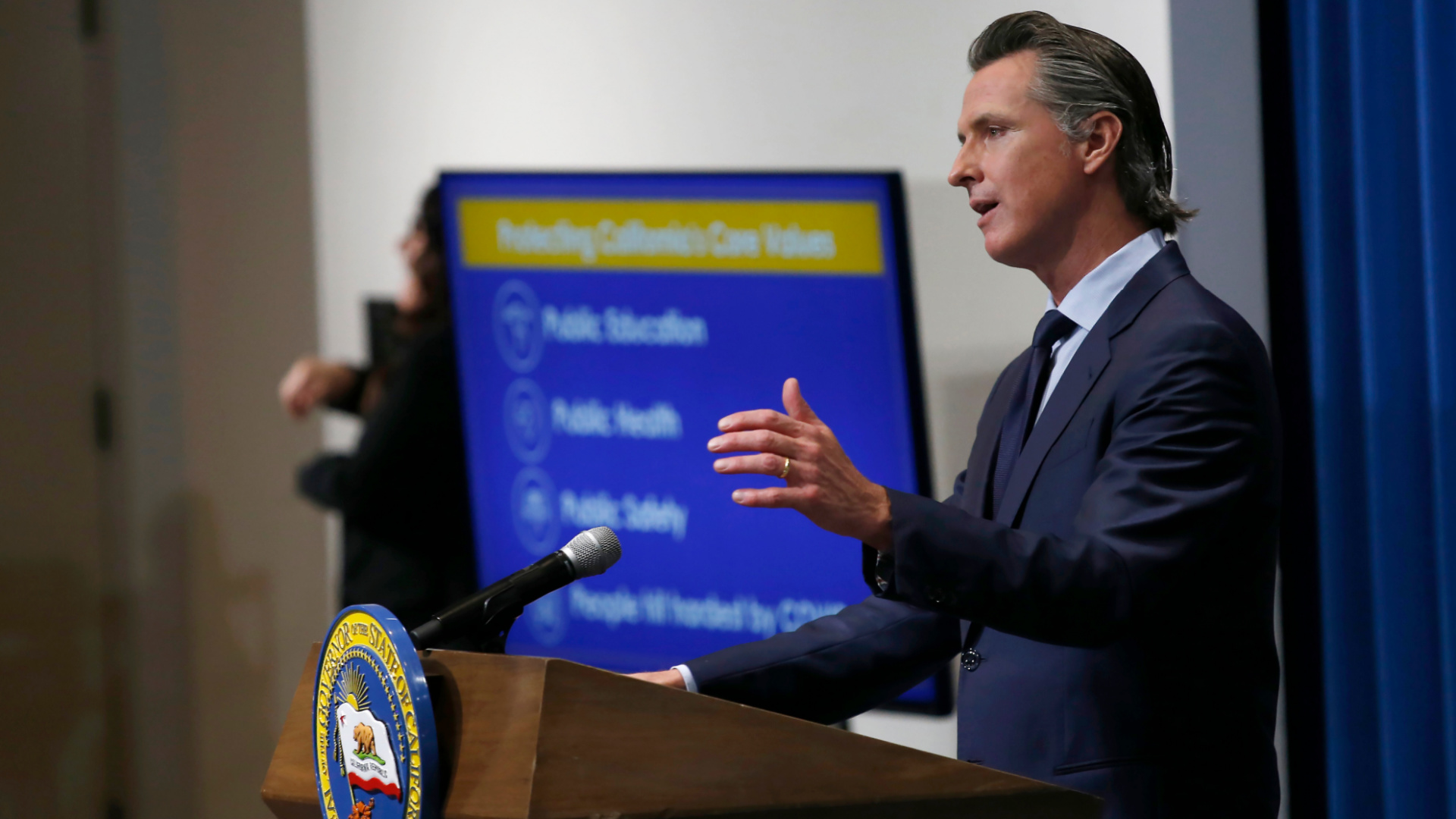 Gov. Gavin Newsom discusses his revised 2020-2021 state budget during a news conference in Sacramento on May 14, 2020. (AP Photo/Rich Pedroncelli, Pool)