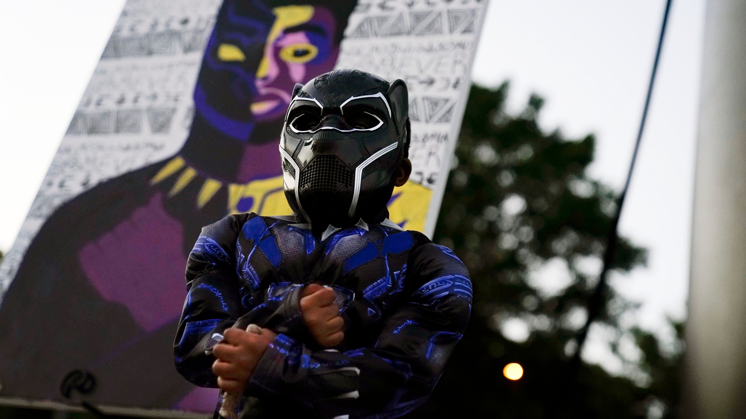 Mason Wilkes, 4, of South Carolina, poses for his father in a Black Panther costume, in front of a painting during a Chadwick Boseman Tribute on Thursday, Sept. 3, 2020, in Anderson, S.C. (AP Photo/Brynn Anderson)